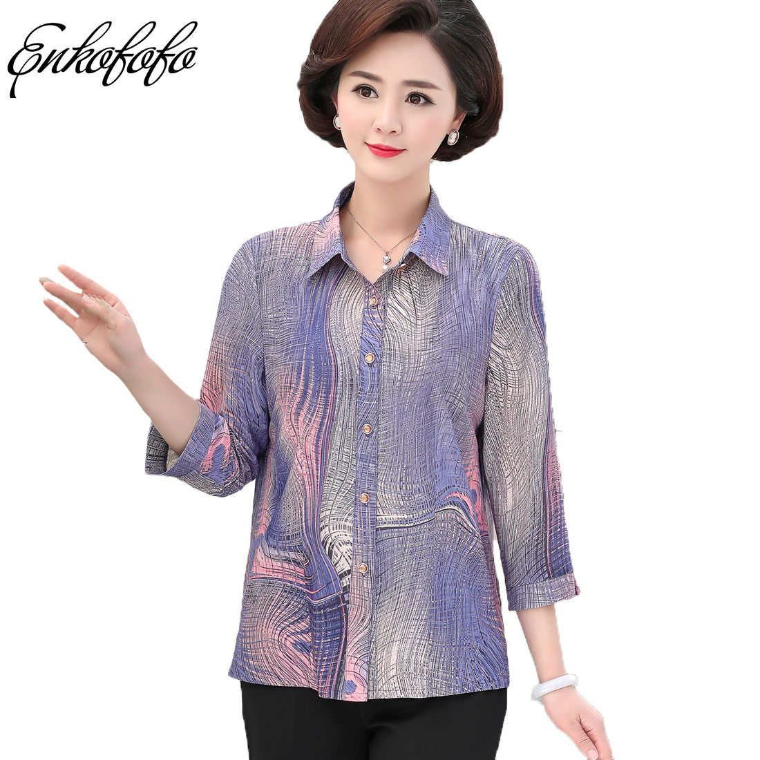 559f8074d2c201 2018 New Summer Fashion Print Casual Blouse Women Tops and Blouses Three  Quarter Sleeve Turn Down Collar Shirt Vintage OL Tops