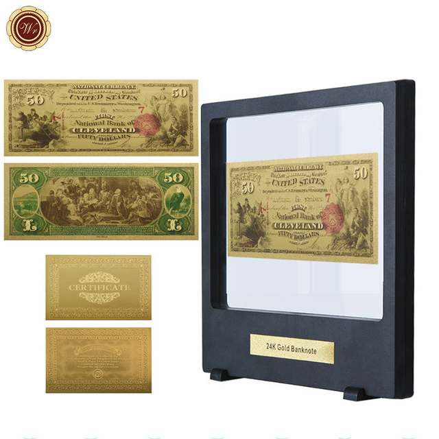51158d005908 WR American 50 Dollar 24k Gold Banknote Collectible Fake Money 999.9 Gold  Foil World Bill Note