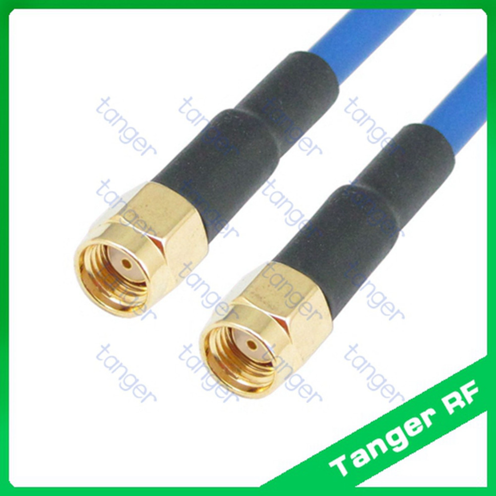 RP-SMA male to RP-SMA male RF connector with RG402 RG141 RG-402 Blue Coaxial Jumper Semi Flexible cable 20in 50cm Low Loss Cable tanger n to sma male plug straight connector with rg402 rg141 rg 402 coaxial jumper semi flex cable 8in 8 20cm rf low loss coax