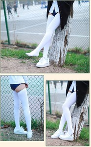 Image 5 - ( 2 pair / lot ) 72 cm long Stockings good elasticity Black & white solid color Lengthened stockings
