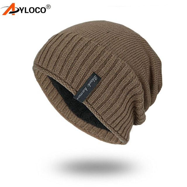 5aa9093bb00df8 Men's winter hat 2018 fashion knitted black hats Fall Hat Thick warm and  Bonnet Skullies Beanie Soft Knitted Beanies Cotton