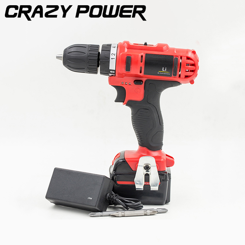ФОТО CRAZY POWER 21V Rechargeable Battery Electric Drill Electric Screwdriver Parafusadeira Furadeira Cordless Screwdriver Tool TA356