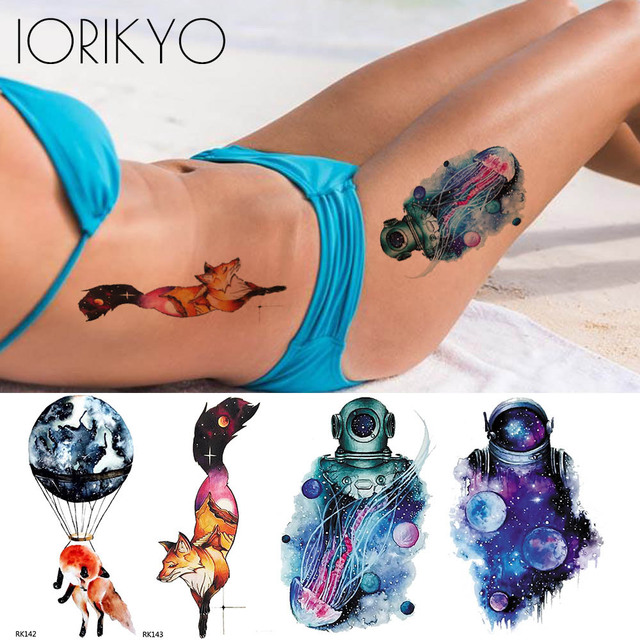 d8997c0e8 Watercolor Flash Moon Mountain Fox Temporary Tattoo Stickers Women Arm  Astronaut Body Fake Tatoo Universe Space