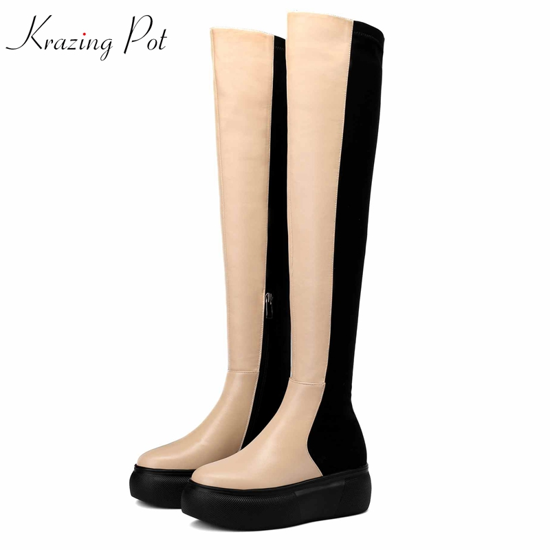 Krazing Pot 2019 genuine leather stretch thigh high boots round toe concise simple style apricot black over-the-knee boots L98Krazing Pot 2019 genuine leather stretch thigh high boots round toe concise simple style apricot black over-the-knee boots L98