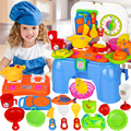 Children Kitchenware Storage Chairs Education Practical Ability Toys For Children Pretend Play Kitchen Toys with for Child Gift
