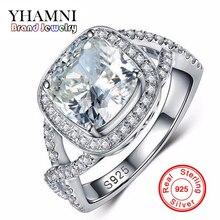 Promoción grande 100% 925 Joyería de Plata Esterlina Anillos de Boda Para Las Mujeres Sona CZ Anillo de Compromiso de Diamantes ANILLO de TAMAÑO 5 6 7 8 9 R2903