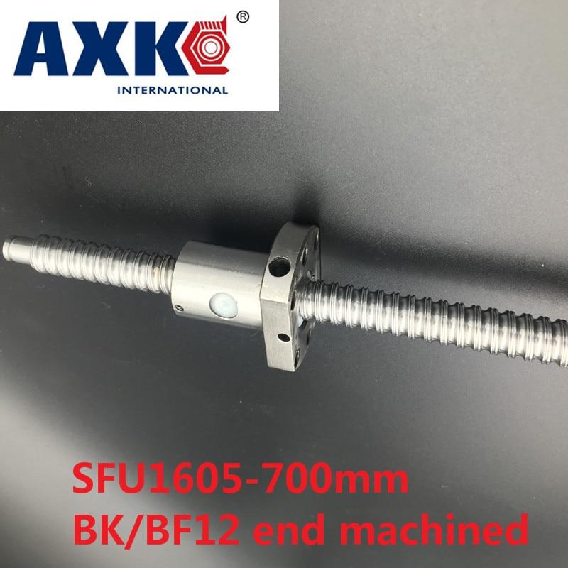 AXK  BallScrew 1605 SFU1605 L=700mm Rolled Ball screw with single Ballnut for CNC parts BK/BF12 standard end machined sfu1605 ball screw l650mm ballscrew with sfu1605 single ballnut for cnc