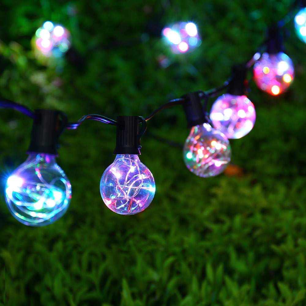 New Outdoor 25Ft G40 Bulb Globe String Lights With Clear Bulbs Colorful For  Backyard Patio Lights Garland Wedding Vintage Bulbs