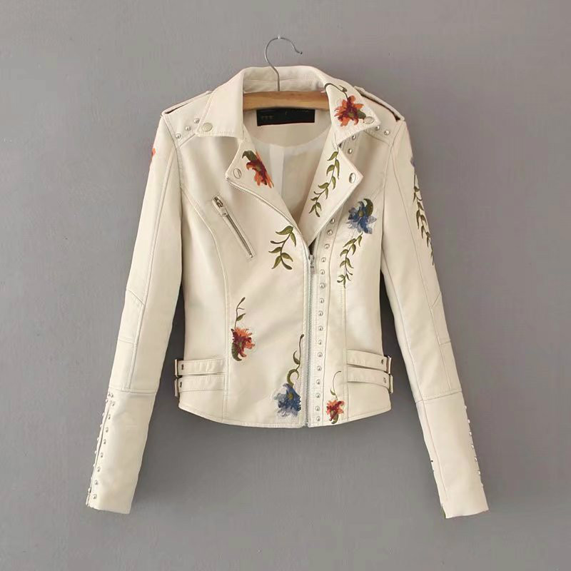 Women Flower Embroidery Punk Jacket Beige Motorcycle Rivet Zipper PU   Leather   Coat Slim Thin Short Girls Faux   Leather   Streetwear