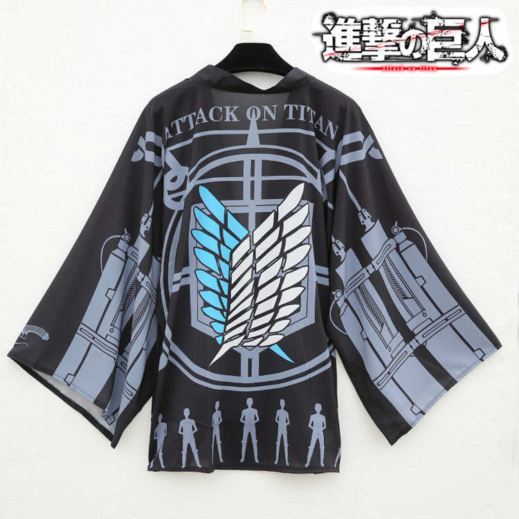 Us 19 37 15 Off Anime Attack On Titan Cosplay Costume Eren Jaeger Mikasa Ackerman Daily Haori Chiffon Cloak Kimono In Anime Costumes From Novelty