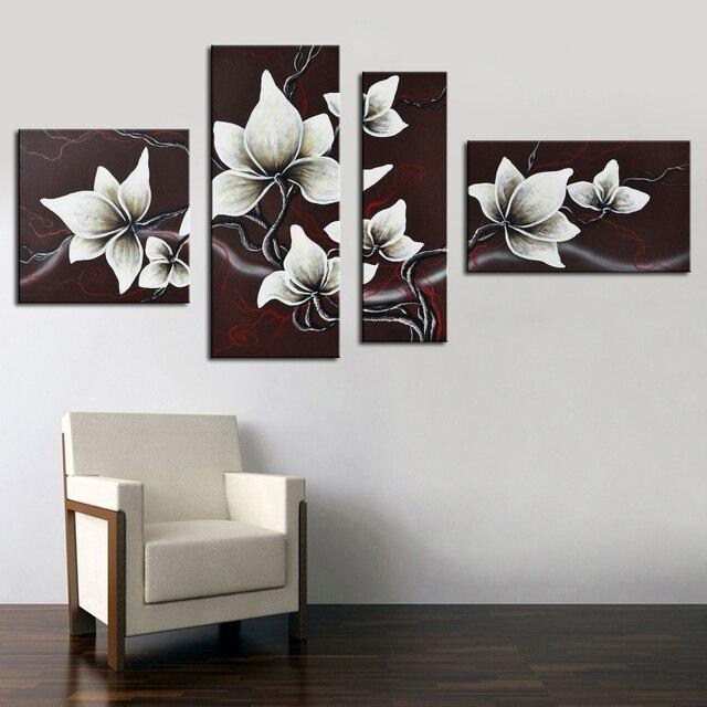 Schwarz Weiß Dekoration Bilder Handgemalte Blume Malerei Moderne Abstrakte  Ölgemälde Dekorative Bilder Für Wohnzimmer