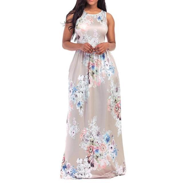 a34f5c7e89e2 Boho Maxi Long Dress Women Summer Beach Ladies Sexy Sleeveless Floral  Printed Dresses For Girls Round Neck Casual Sundress #Ju