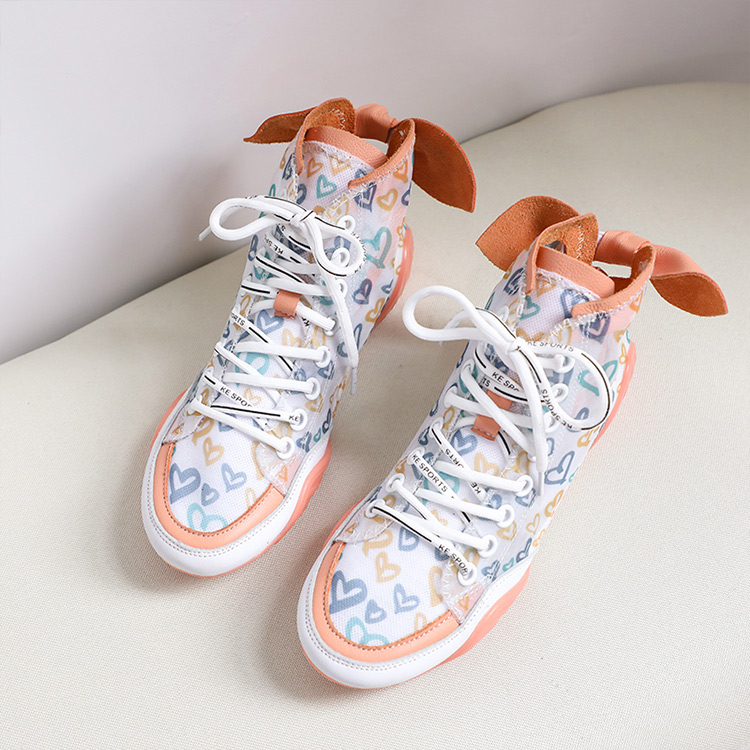 2019 Autumn Vulcanize Female Fashion Sneakers Lace Up Soft High Leisure Footwears Love Breathable Mesh Women Casual Shoes 45