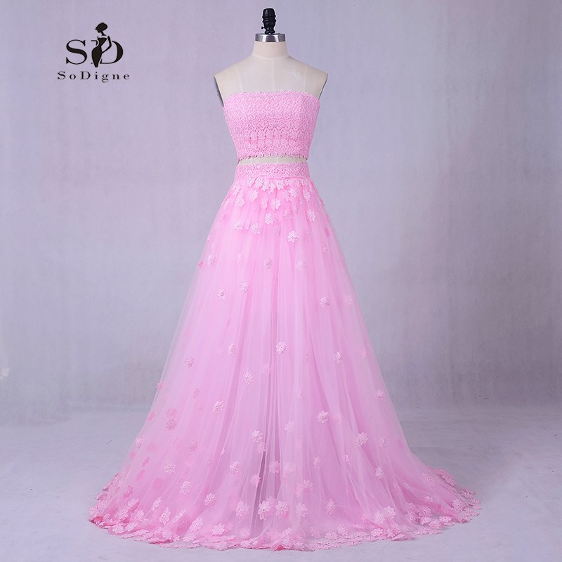 Beach Wedding Dress Flowers Color dress Greek Wedding Dress Romantic Pink Two pieces A-line Ladies Masquerade Hot Sale