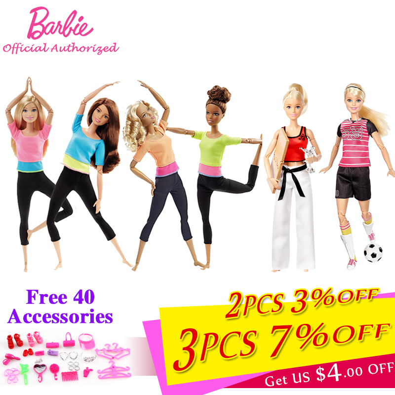 Barbie Authorize Brand 7 Style Fashion Dolls Yoga Modell Toy För Little Girl Födelsedagspresent Barbie Girl Boneca Modell DHL81