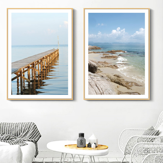 Beach Bridge Blue Sky Sea Landscape Wall Art
