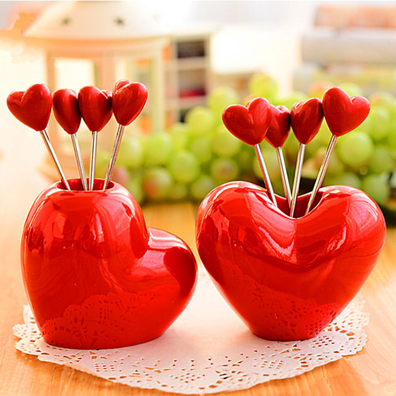 4Pcs Red Cute Stainless Steel Fashion Convenience Cutlery Set Love Wedding Decoration Dinner Salad Dessert Fruit Fork