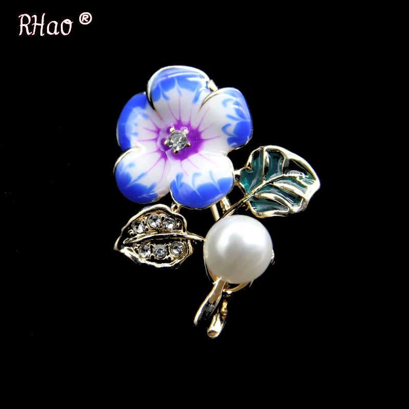 Ukuran Kecil Mini Biru Pink Enamel Pins Kristal Bunga Bros untuk Wanita Pria Setelan Korsase Anak Perempuan Gaun Mantel Perhiasan Gesper