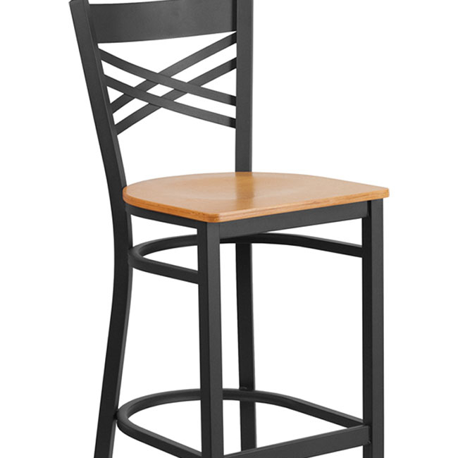 Flash Furniture HERCULES Series Black ''X'' Back Metal Restaurant Barstool - Natural Wood Seat шины michelin latitude tour hp 225 65 r17 102h