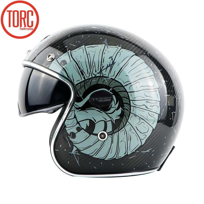 TORC brändi süsinikkiust MOTO kiiver casco capacetes vintage jet - Mootorrataste tarvikud ja osad - Foto 6