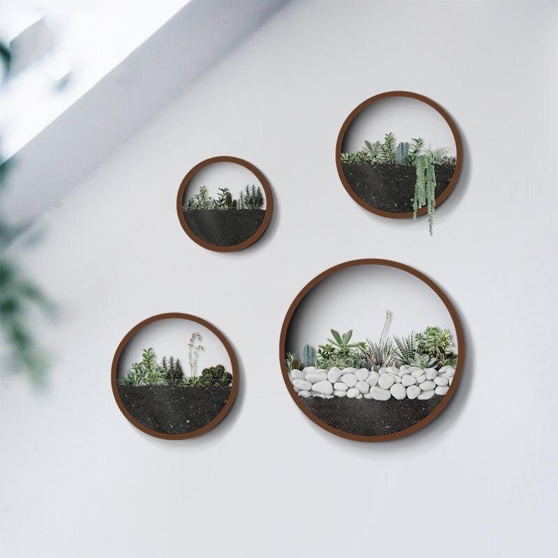 Jarrón redondo de hierro de Metal colgante de pared creativo para decoración de sala de estar de hogar artesanías macetas artificiales de flores