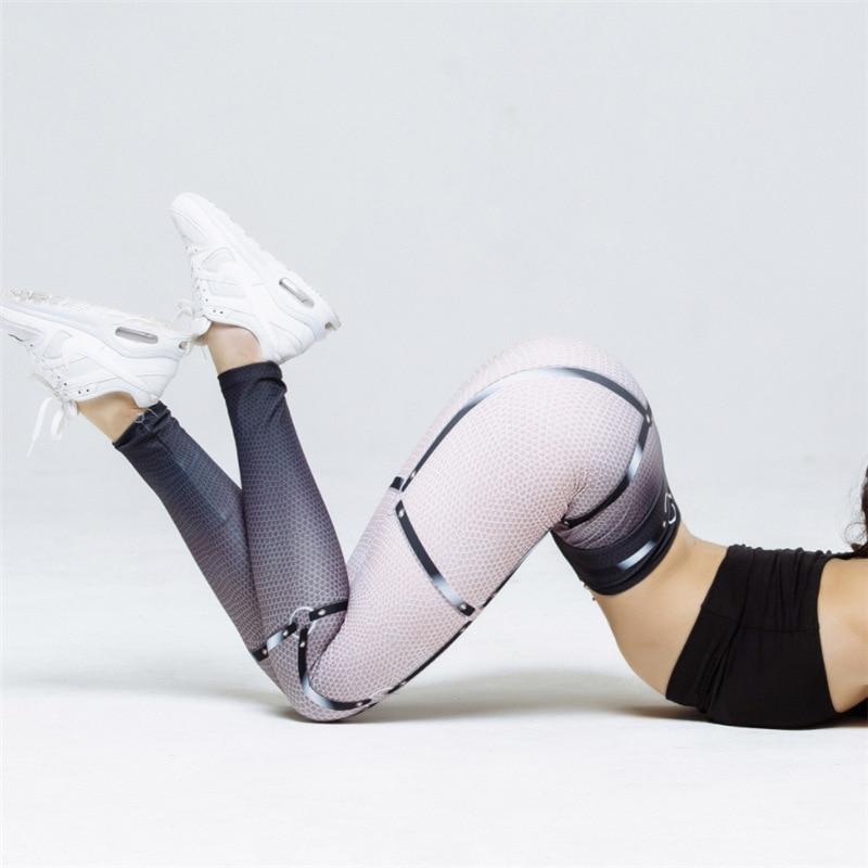 NORMOV Tipo V cintura impresa algodón Leggings Mujer Color gradiente malla pantalones Push Up transpirable Slim Casual Leggings para mujer