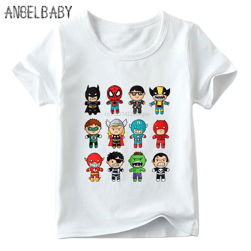 Boys/Girls Cartoon Avengers Super Hero Print T-shirt Children Summer Short Sleeve Tops Baby Kids Casual Funny T Shirt,ooo5512