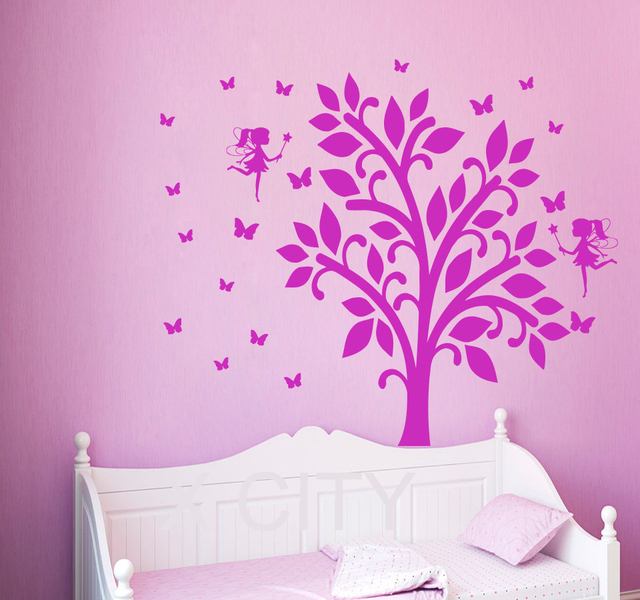 US $8.24 25% di SCONTO|Decalcomanie della parete fata farfalla del vinile  autoadesivo albero ramo finestra bambini nursery camera da letto home decor  ...