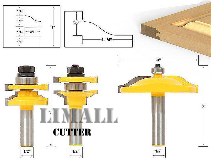 3pcs/set Big Tenon Joint Rounded Corners Milling Cutter Simon Plate Woodworking Door Cabinet Ogee Stile and Rail Bits пакет подарочный феникс презент любимые игрушки 26 х 32 4 х 12 7 см