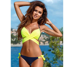 цена 2019 Sexy Bikini Women Swimsuit Bikini Set Beach Bathing Suit Swim Wear XXL Push Up Swimwear Criss Cross Bandage Halter онлайн в 2017 году