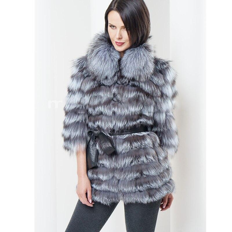2019 BFFUR, женская шуба из натурального Лисьего меха, зимняя женская куртка с воротником-стойкой из искусственной кожи, наряд с поясом, роскошна...