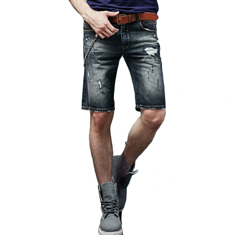 S-XXL large size high quality casual mens jeans straight pants dark blue light blue black cotton Slim summer five pants jeans