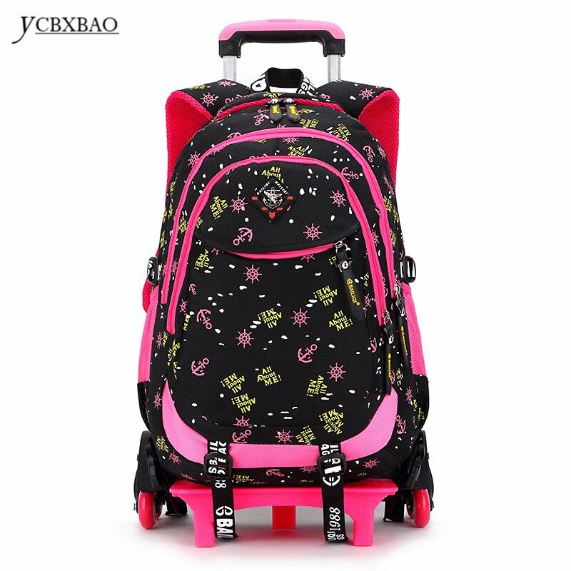 2/6 roues de haute qualité filles chariot sac à dos cartable sacs orthopédiques pour enfants chariot sac d'école garçons sac à dos épaules