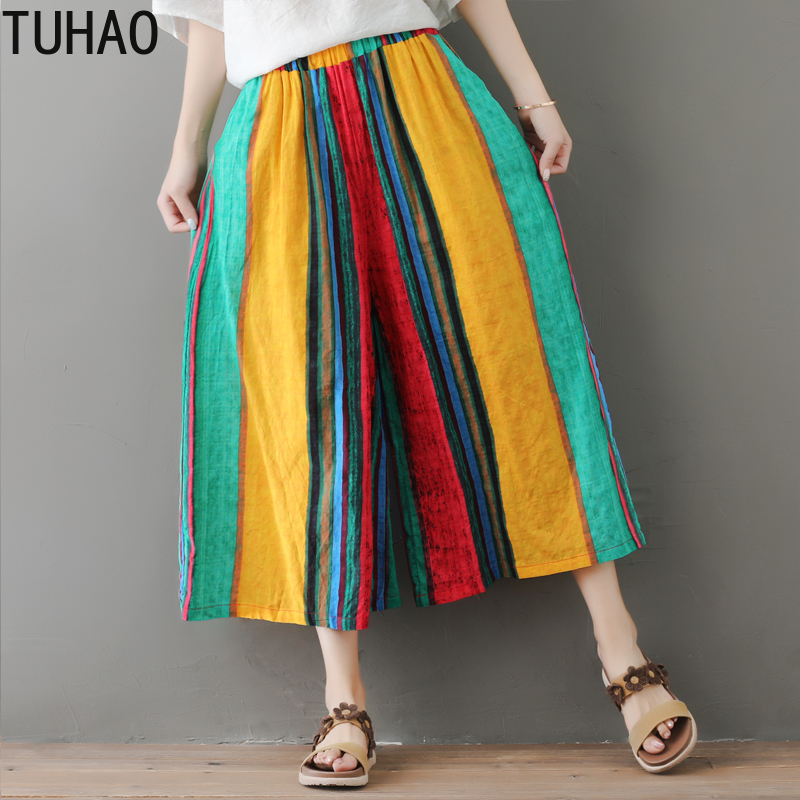 TUHAO 2019 Summer Striped Wide Leg Pants Vintage Large Size Beach Striped Cropped Pants Calf-Length Casual Trousers Women  LZ209