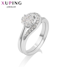 Xuping Fashion Ring Special Design Rhodium Color Bridal Sets for Girl Women Christmas Charm Jewelry Promotion