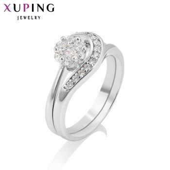 Xuping Mode Ring Spezielle Design Rhodium Farbe Braut Sets für Mädchen Frauen Weihnachten Charme Schmuck Förderung 12996