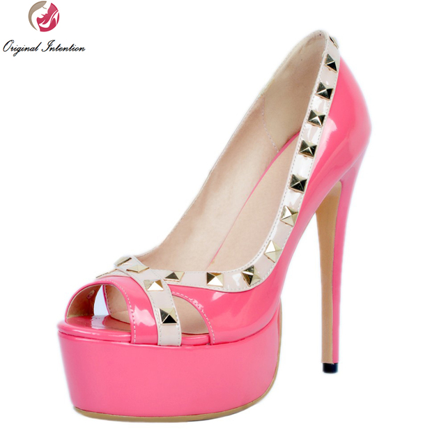Original Intention High quality Women Pumps Rivets Platform Peep ...