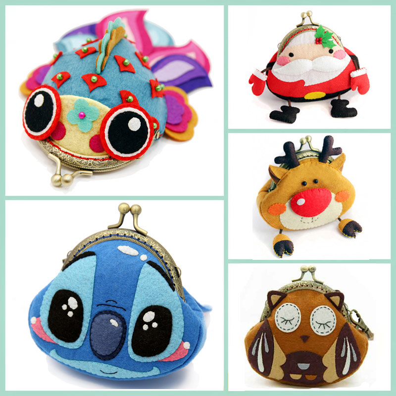 6 Styles Fabric DIY Handbag Cartoon Bags For Children Birthday / Christmas Gift Sewing Art Felt Material DIY Package Set