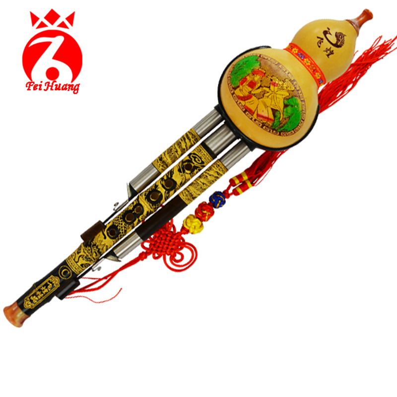 Chinese Hulusi Yunnan Traditional Instrument Natural Gourd Cucurbit Flute Musical Instrument Bamboo Instrument Key C Bb Tone F03 цена
