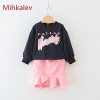 Mihkalev хлопок комплект одежды для девочек 2018 весенняя одежда для маленьких девочек комплекты с лонгсливами для детей 2 шт. комплекты одежды фу...