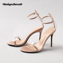 Sexy Woman Transparent Hight Heel Shoes Comfort Peep Toe Summer Silk Sandals Office Ladies Buckle Strap Heels