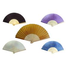 Wedding Silk Fan Chinese Style Hand Held Silk Folding Lady Dancing Fan Small Gifts For Guests 5 Colors(China)