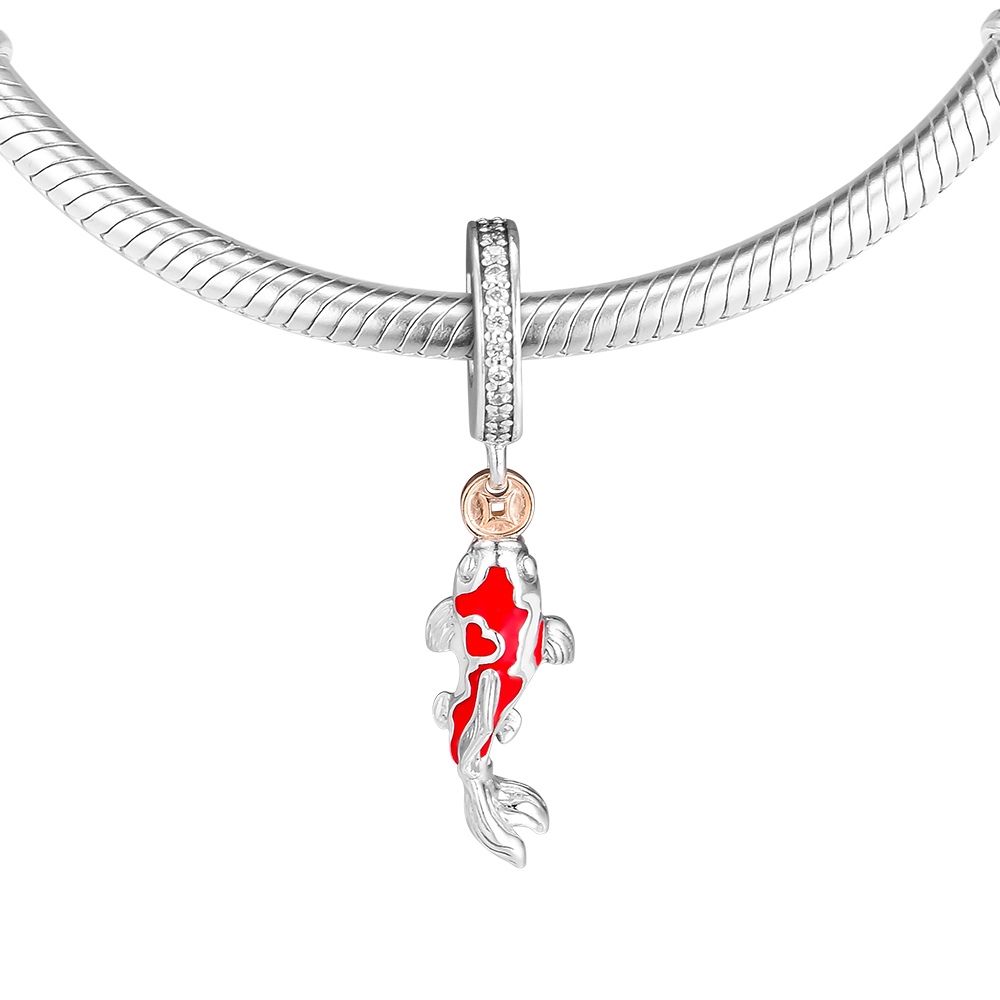 New 925 Sterling Silver Jewelry Good Fortune Carp Charm (K) Fit for Bracelet Charm Women DIY Jewelry Making