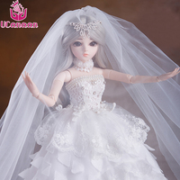 UCanaan 1/3 Girl BJD Doll With Outfit Shoes Wigs Makeup Wedding Dress Bride Dolls 18 Ball Joints SD Doll Best Gift For Children