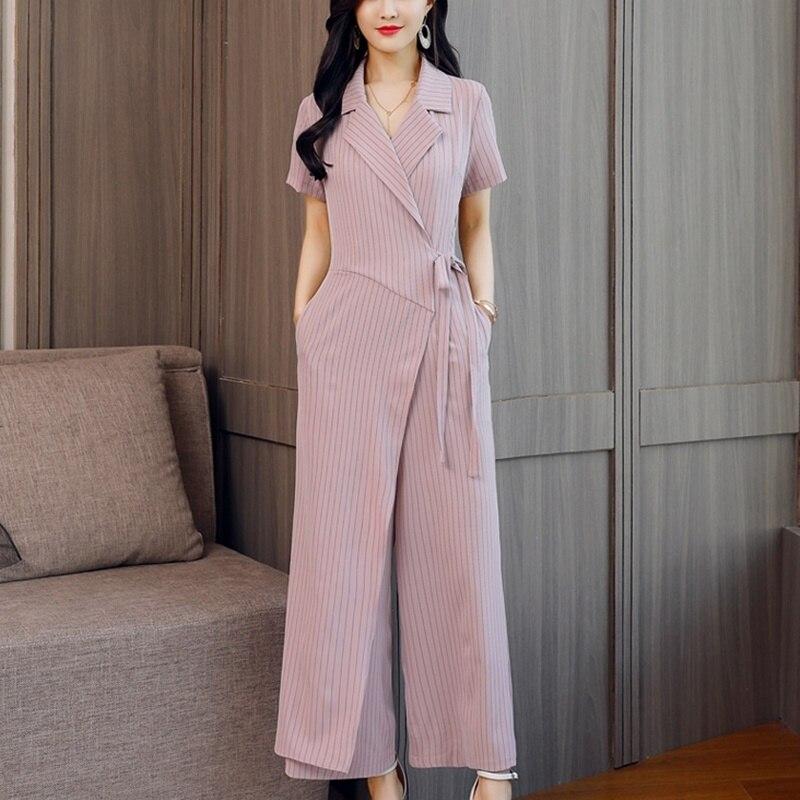 Летний комбинезон в полоску, 2019, короткий рукав, широкие штаны, для офиса, бизнеса, для девушек, элегантный комбинезон для женщин 2019 DD2071 - 6