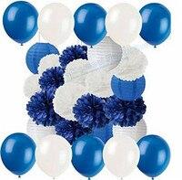 2 Sätze Navy Blau Weiß Tissue Pom Poms Papier Blume Hängende Papierlaternen Ball Hochzeit Geburtstag Baby Shower Deko