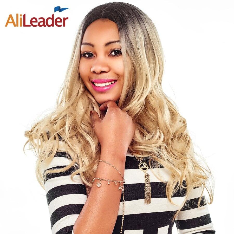 Alileader Cheveux Produits Noir Au Blond Perruque Foncé Racines, corps Ondes Longues Perruques de Cheveux Synthétiques Ombre Pruik