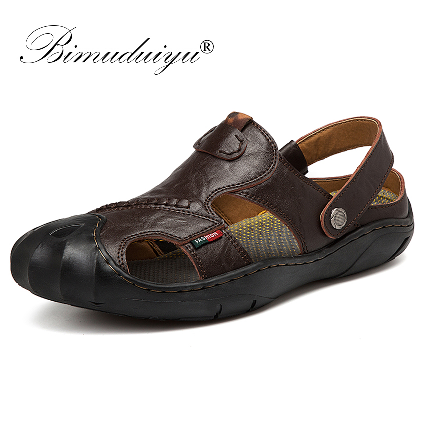BIMUDUIYU Summer New Men Sandals Genuine Leather Casual Shoes High Quality Outside Walking Sandal Breathable Sneakers For Men