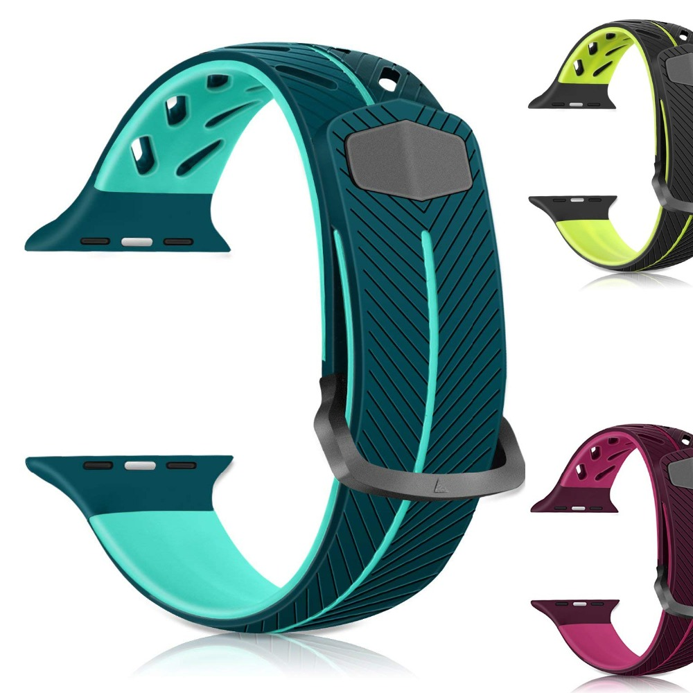 Sport Soft Silicone Strap For Apple Watch Series 4 3 2 1 44mm 40mm 42mm 38mm Stylish Band Replacement Strap Wristband For iWatch
