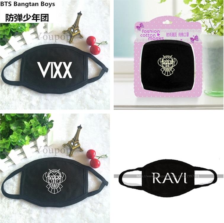 2017 Neue Schwarz Vixx Anti-staub Baumwolle Mund Maske Kpop Kollektiven Masken K-pop Vixx Stern Teen Gesicht Mund-muffel Face Atemschutzmasken